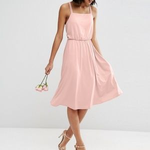 ASOS Wedding Pink Crepe Cross Back Midi Dress 4